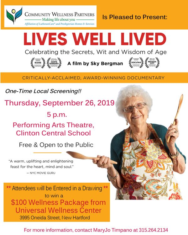 "Community Wellness Partner's Presents ""Lives Well Lived"" Documentary Film"