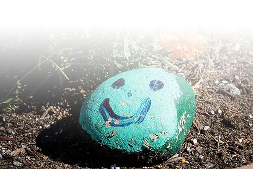 Stone painted green with a blue smily face